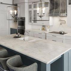 Kitchen Redo, Home Decor Kitchen, Kitchen Interior, New Kitchen, Home Kitchens, Kitchen Design, White Cabinet Kitchen, White Granite Kitchen, Marble Kitchen Ideas