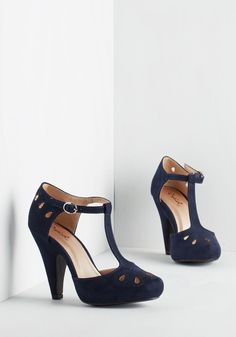 Dynamic Debut Heel in Navy - Blue, Solid, Cutout, Daytime Party, Good, High, Party, Work, Vintage Inspired, 20s, 30s, Faux Leather, Variation, T-Strap, Best Seller, Scholastic/Collegiate, Special Occasion, 4th of July Sale