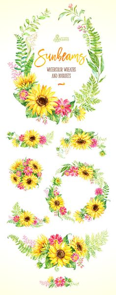 Sunbeams. Wreaths and Bouquets. Watercolor floral clipart