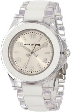 Juicy Couture Women's 1900866 Rich Girl Clear Plastic Bracelet With White Silicone Inlay Watch Juicy Couture. $99.95. Seconds hand; Sizeable bracelet. Water-resistant to 99 feet (30 M). Clear plastic bracelet with white silicone center links. Arabic number markers. White silicone bezel