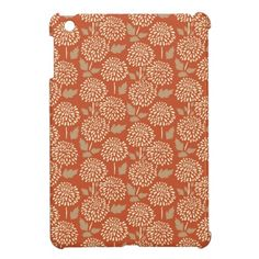 Pretty Burnt Orange Floral Pattern Gifts for Her Case For The iPad Mini