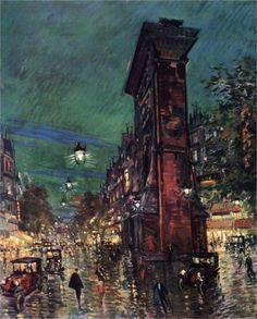 Konstantin Korovin (Russian 1861–1939) [Impressionism, Art Nouveau] Paris. Saint Denis Arc, 1930.