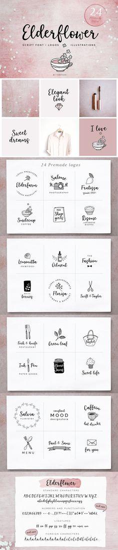 Elderflower script font + logos by Tabita's shop on @creativemarket #AD