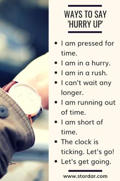 Learn English 383650462006535171 - Figure Out English Episode 39 Ways to say 'Hurry up' in a conversation. Improve your speaking skills. Source by imenegon English Idioms, English Phrases, Learn English Words, English Writing, English Grammar, English English, English Learning Spoken, Learning English Online, English Language Learning