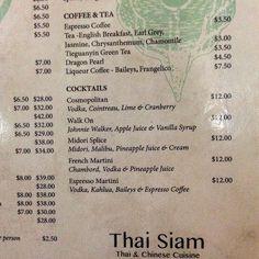 Drinks menu - #ThaiSiam Restaurant in #ClevelandQLD - #Thai and #Cantonese Cuisine http://www.thaisiam.com.au