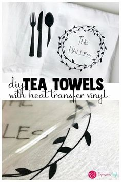 Tea Towels with Heat transfer vinyl Vinyl Projects, Easy Projects, Project Ideas, Vinyl Gifts, Iron On Vinyl, Diy Décoration, Diy Crafts, Cricut Vinyl, Cricut Air