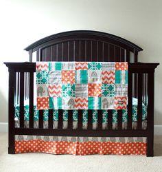 Custom Crib bedding  Turquoise Grey and Orange by GiggleSixBaby, $253.00