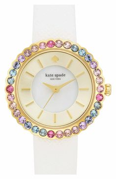 Main Image - kate spade new york 'cornelia' crystal bezel leather strap watch, Stylish Watches, Cool Watches, Fancy Watches, Jewelry Accessories, Fashion Accessories, Watch Accessories, Fashion Jewellery, Kate Spade Watch, Beautiful Watches