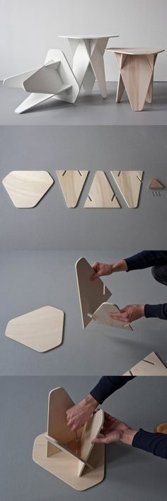 Andreas Kowalewski's Wedge Side Table is a Genius Single-Mat.- Andreas Kowalewski's Wedge Side Table is a Genius Single-Material Flatpack Design Diseño de muebles – Andrea Kowalewski wedge Side Table - Plywood Furniture, Diy Furniture, Barbie Furniture, Furniture Chairs, Farmhouse Furniture, Origami Furniture, Simple Furniture, Furniture Stores, Furniture Plans