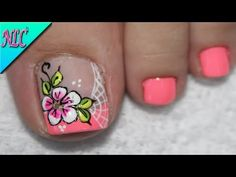 DISEÑO DE UÑAS PARA PIES FLORES SENCILLAS - FLOWERS NAIL ART - NLC - YouTube Cute Pedicure Designs, Nail Art Designs, New Nail Art Design, Pedicure Nail Art, Toe Nail Art, Manicure, French Nails, Pretty Toe Nails, Nagellack Trends
