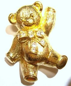 Vintage Jewelry Gold Washed Brooch or Pendant Avon Bear with Rhinestones on Yellow Gold Tone
