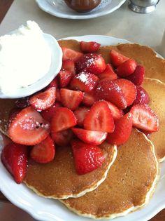 Pancakes and strawberries are the best food combination ever (up there with chocolate and peanut butter).