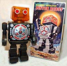 Vintage Horikawa Robot Piston Head Japan Tin Space Toy