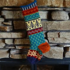 Hand Knit Christmas Stocking with Deep Purple Tree, Yellow Snowflakes and Burnt Orange Heel