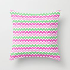 Green and Pink Ombre Chevron Throw Pillow for girls bedroom decor #decampstudios