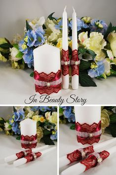Your place to buy and sell all things handmade Unity Candle Holder, Candle Art, Wedding Unity Candles, Unity Ceremony, Large Candles, Pillar Candles, Burgundy Wedding, Marsala, Table Decorations