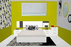 Vista frontal del dormitorio de matrimonio con los muebles del catálogo Esenzia de BaixModuls