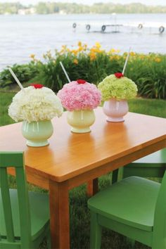 Ice cream shake floral arrangement