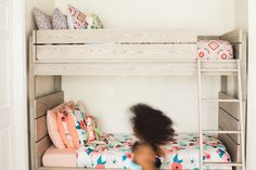Home Tour: A Stylish Kid-Centric Family Home in Texas | Photo by Connie Meinhardt Photography | Kids Room Decor | Little Girls Room Decor | Girls Room Inspiration | Bunk Beds | Floral Girls Room | Pink Girls Room | Girls Room Ideas