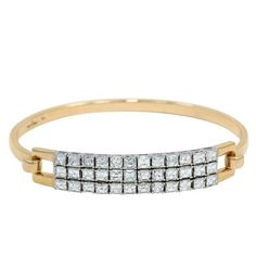 White and Yellow Gold Asscher Cut Diamonds Bangle Bracelet | From a unique collection of vintage bangles at https://www.1stdibs.com/jewelry/bracelets/bangles/