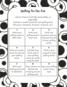 tic tac toe homework template - spelling choice board spelling tic tac toe template