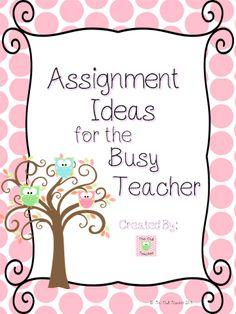 Great for when you need lesson ideas or assignment ideas- free on TpT!  Check out the blog too!