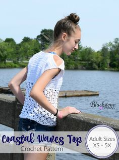 Coastal Waves Top crochet pattern by Blackstone Designs This pattern has instructions for Tee length, as well as crop top and swimsuit cover! #crochet #summer #summerfashion #swimsuitcover #top #shirt #mommyandme