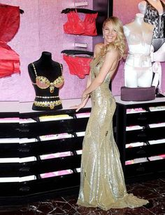 Candice Swanepoel in golden Zuhair Murad dress at the Victoria's Secret Royal fantasy bra launch, New York  2013