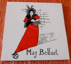 Vintage conversational tile: May Belford from Henri deToulouse-Lautrec painting by BackToThe60s on Etsy