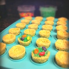 Easter rice krispy treats:) Molded in mini muffin pan, filled with coconut flakes dyed with green food color and topped with jelly beans. Ideal for school and playdates! In my daughters preschool kids filedl them on their own, so it was cute  edible craft:)