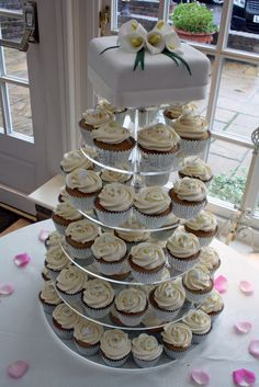 Lace Wrapped Cupcakes and Rosette Wedding Cupcake Tower   Wedding ...