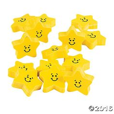Smile Face Star Erasers perfect for embedding in soap