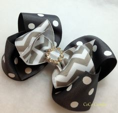 Chevron and Polka dot boutique hair bow clip girl grey