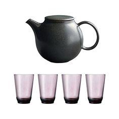 KINTO Pebble Black Porcelain Teapot and Four HIBI 350ml Purple Glass Tumbler, Set of 5