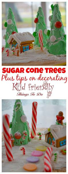 Sugar Cone easy Christmas trees for a fun and simple alternative to gingerbread houses with the kids for holiday parties! plus tips on decorating - http://www.kidfriendlythingstodo.com