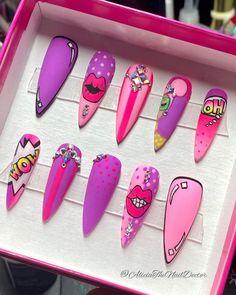Ongles Pop Art, Pop Art Nails, Art Deco Nails, Best Acrylic Nails, Summer Acrylic Nails, Comic Nail Art, Water Nail Art, Desenho Pop Art, Nail Logo