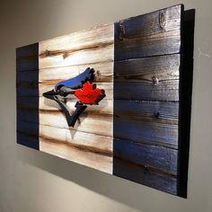Toronto Blue Jays Canadian Wood Flag - Burnt Cedar Shou Sugi Ban Wall Art for Man Cave Wood Projects, Woodworking Projects, Outdoor Projects, Outdoor Decor, Sugi Image, Recycled Furniture, Handmade Furniture, Boy Dresser, Japanese Buildings