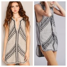 1 HOUR SALE! FREE PEOPLE Cocktail Tunic NWT Gorgeous NWT embroidered tunic by Free People. Color is Ivory/Black Combo. Retail $168. Free People Dresses Prom