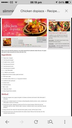 Chicken dopiaza slimming world Slimming World Treats, Slimming World Tips, Slimming World Dinners, Slow Cooker Recipes, Cooking Recipes, Healthy Recipes, Healthy Food, Diet Recipes, Recipies