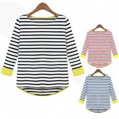 Women's Round Collar 3/4 Sleeve Stripe T-shirt Tops