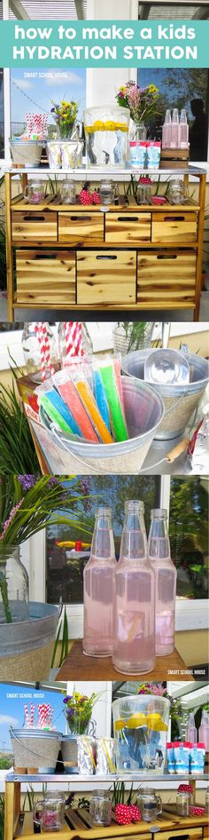 Hydration Station for Kids. A fun, creative, diy idea for keeping kids hydrated while they play all day!