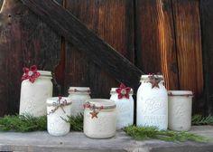 Shabby Chic Christmas Theme Set of Mason Jars... Candle Holders... Country Rustic Mantle Display... Wedding Decor