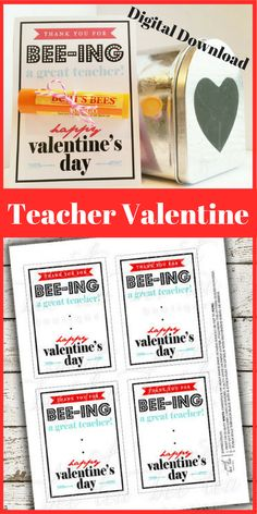These adorable flags read: Thank You For BEE-ing A Great Teacher! | Happy Valentine's Day.  Just print, cut out and attach to your favorite Burt's Bees lip balm to create the perfect Valentine's Day gift for your child's teacher!  #ad  #teachervalentine  #valentinesday  #printable  #etsy