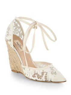 Valentino - Lace Tie-Up Espadrille Wedge Sandals - Saks.com Perfect for a beach wedding or casual garden wedding...