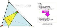 Geometry problem 134: Orthic Triangle, Altitudes, Angle Bisectors, Orthocenter, Incenter. Teaching, School, COllege, Math Education.