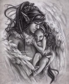 This fantasy drawing was done by Adele Lorienne S. aka Saimain of Deviant Art. Lovely artwork like this can be found in even the least traveled of sites. Fairy Coloring, Colouring Pages, Fantasy Paintings, Fantasy Artwork, Elfen Tattoo, Elves And Fairies, Fantasy Images, Angel Art, Fairy Art