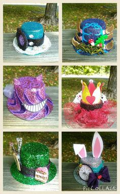 This is a listing for 6 mini alice in wonderland top hats. These are beautiful handmade tophats that will go well with your next alice wonderland themed party.
