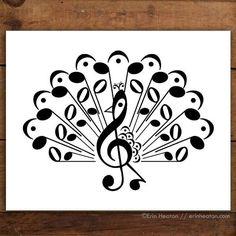 Peacock Music Note Art Print
