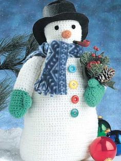 "Decorate your home with this wintry snowman! Size: 16"" high without hat."
