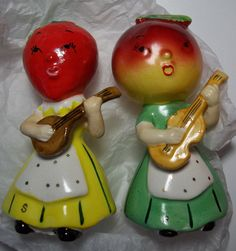 Vintage Fruit Head Ladies Playing Instruments Anthropomorphic Salt and Pepper Shakers